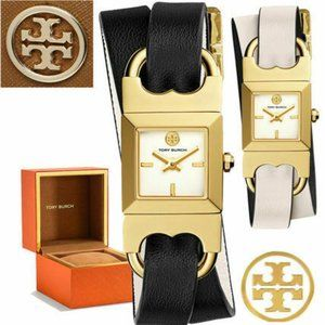 NIB! Tory Burch Double T-Link Reversible Black&Whi